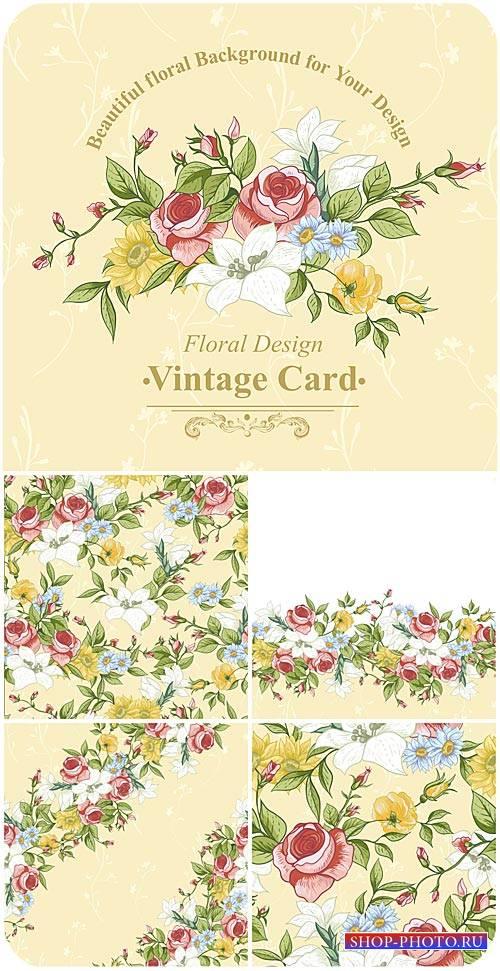 Винтажные векторные фоны с цветами, розы / Vintage vector background with f ...
