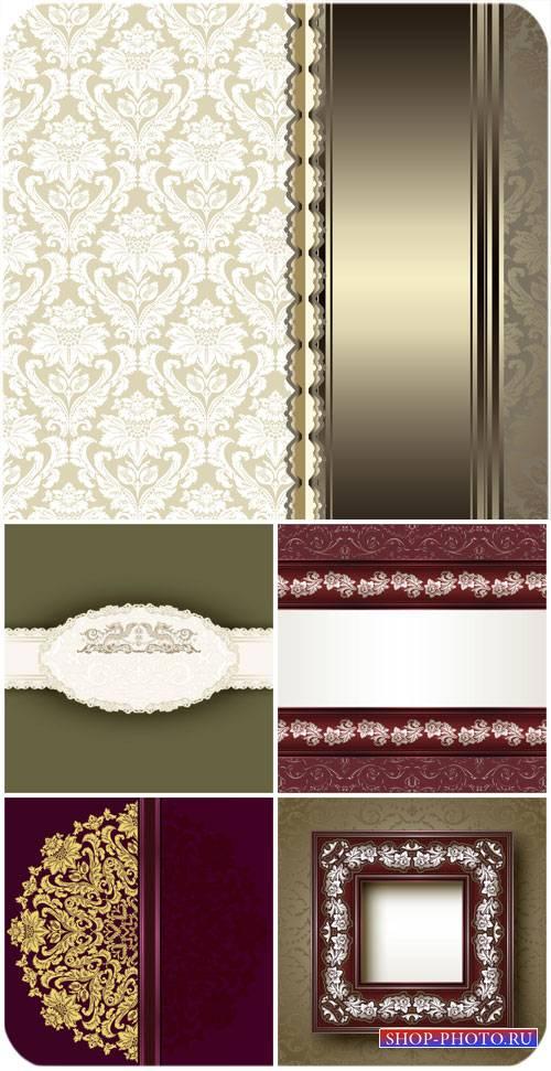 Винтажные узоры, векторные фоны с золотыми узорами / Vintage patterns