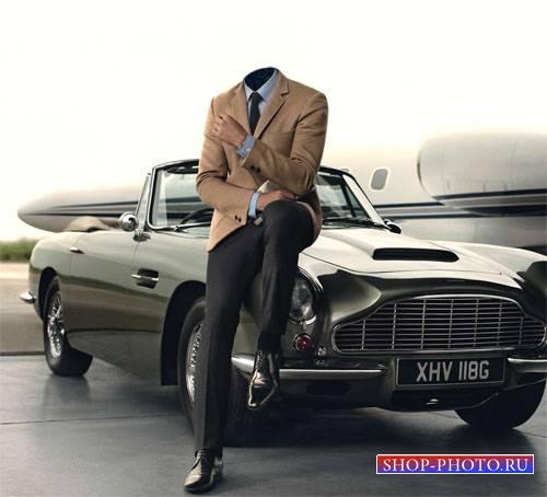Шаблон для фотошопа - Мужчина и ретро автомобиль