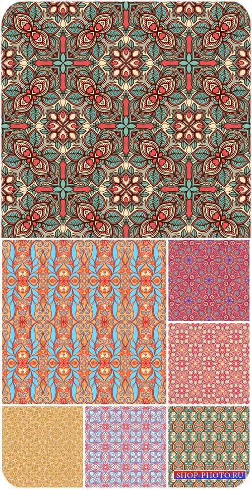Фоны с цветочными узорами, векторные текстуры / Backgrounds with floral pat ...