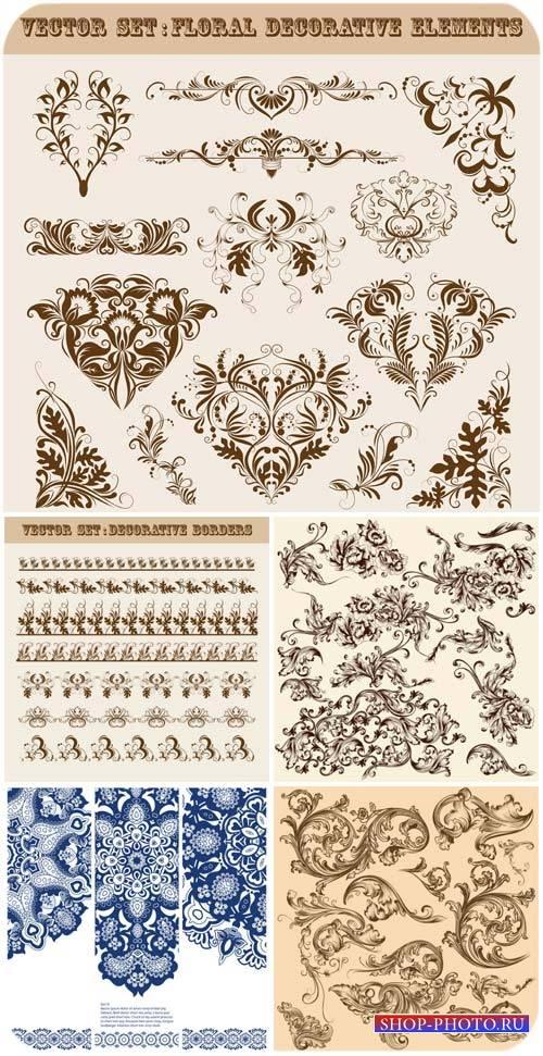 Цветочные декоративные элементы в векторе / Floral decorative elements, orn ...