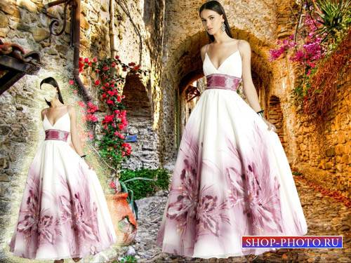 Шаблон для фото - В красивом белом платье с цветами