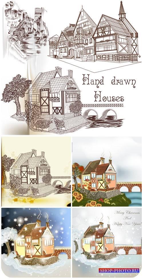 Векторные фоны с домиками / Vector backgrounds with houses