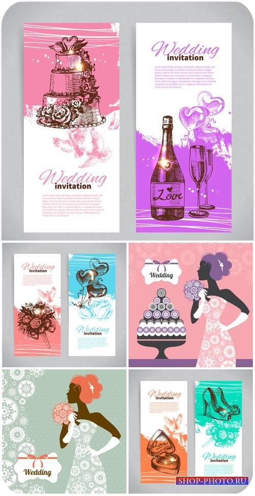 Свадебные приглашения, баннеры и фоны в векторе / Wedding invitations, bann ...