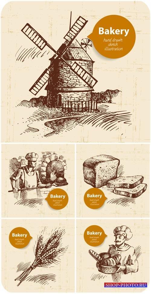 Винтажные векторные фоны с хлебом / Vintage vector background with bread