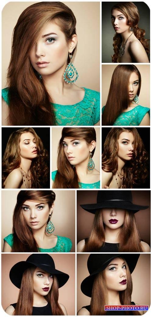 Девушка в черной шляпе, мода и стиль / Girl in a black hat - Stock Photo