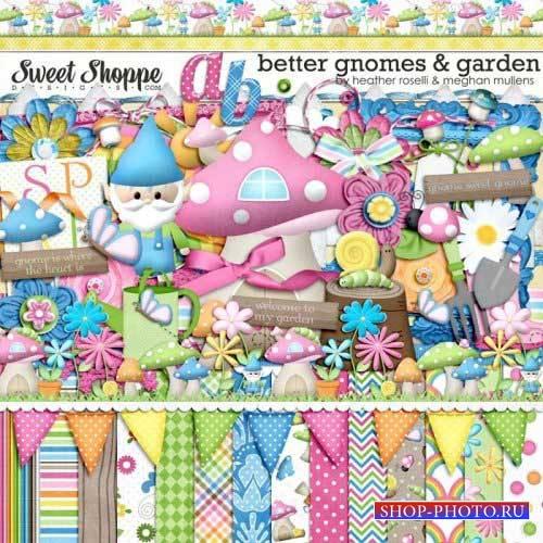 Сказочный детский скрап-комплект - Садовые гномики