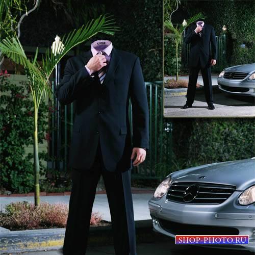 Шаблон для Photoshop - Мужчина у своего авто