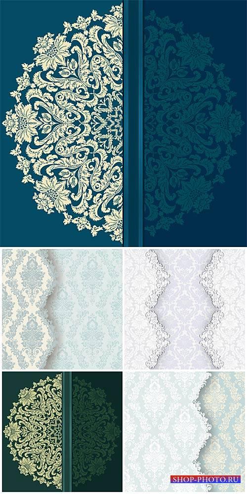 Винтажные узоры, векторные фоны с цветочными узорами / Vintage patterns, ve ...
