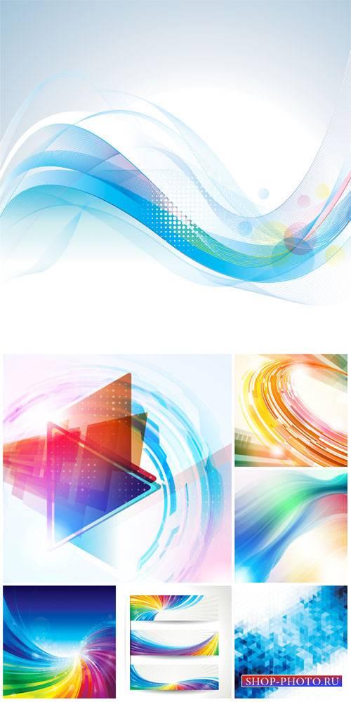 Абстракция, векторные фоны с линиями, баннеры / Abstract, vector background ...