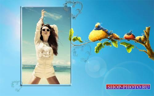 Рамка для фотомонтажа - Веселые птички на веточке