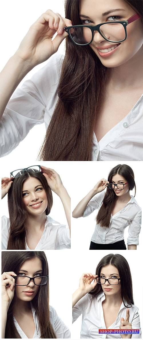 Красивая бизнес леди в очках / Beautiful business woman wearing glasses - Stock Photo
