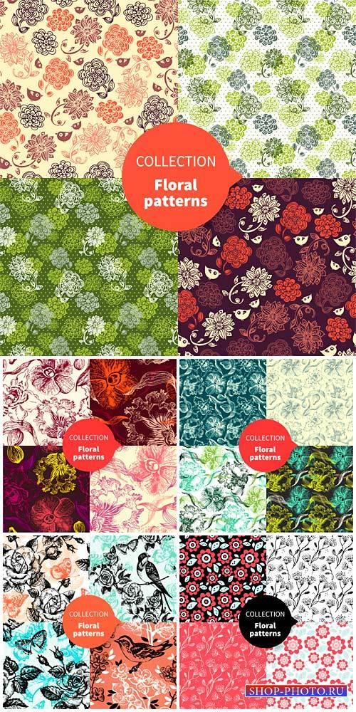 Коллекция цветочных текстур в векторе / Collection of floral textures vecto ...
