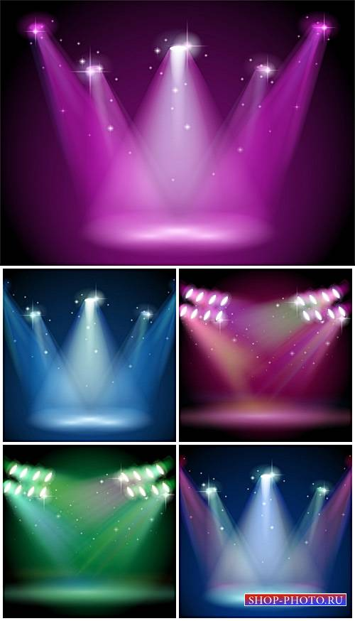 Освещение прожекторами, векторные фоны / Lighting spotlights, vector backgr ...