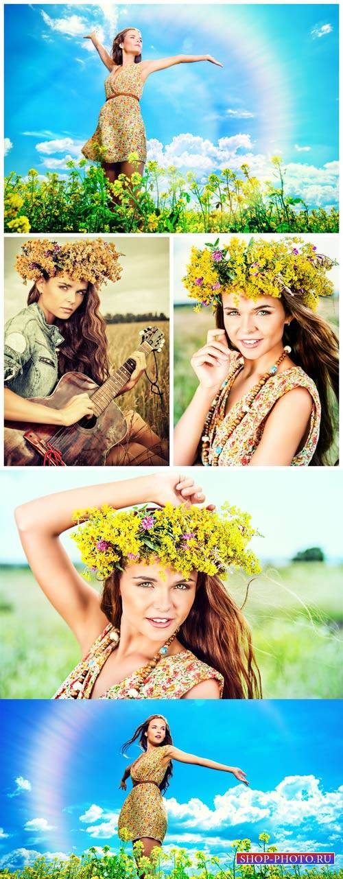 Девушка в цветочном венке на природе / Girl in a flower wreath on the nature - Stock Photo