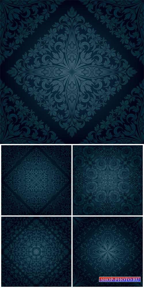 Темно синие векторные фоны с узорами / Dark blue vector backgrounds with pa ...