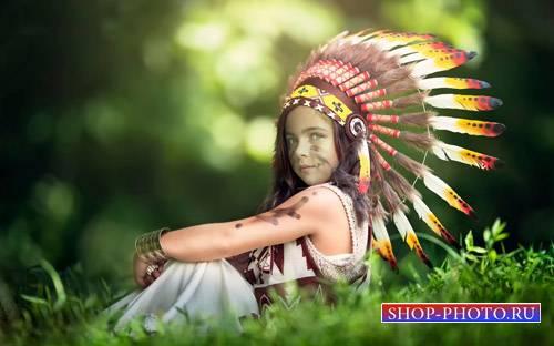 Шаблон для фотошоп - Смелая девочка индейка