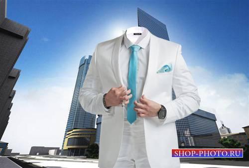 PSD шаблон для мужчин - В красивом белом костюме
