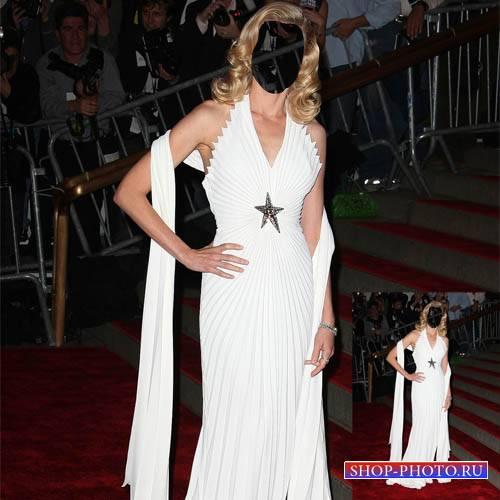 PSD шаблон для девушек - Кинозвезда в вечернем платье