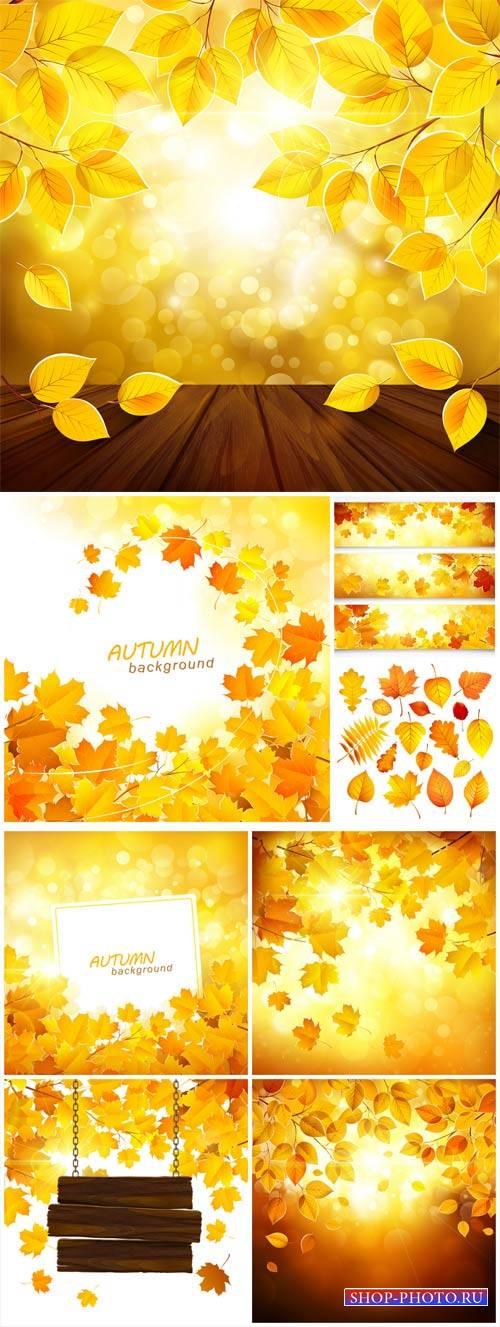 Осенние фоны в векторе / Autumn backgrounds vector
