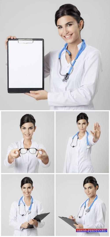 Женщина врач, медицина / Female medical doctor, medicine #1 - stock photos