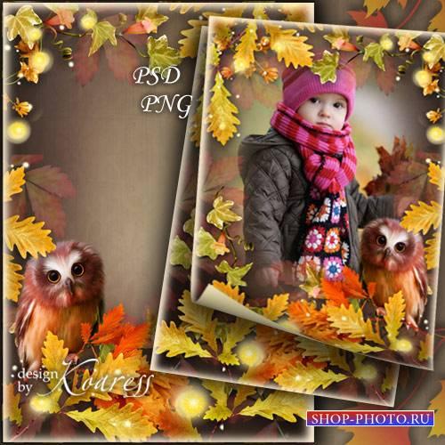 Детская фоторамка с осенней листвой, цветами и симпатичным филином - Загадк ...
