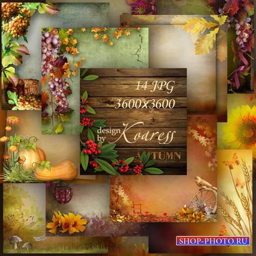 Набор осенних фонов для фотошопа с грибами, ягодами, листьями