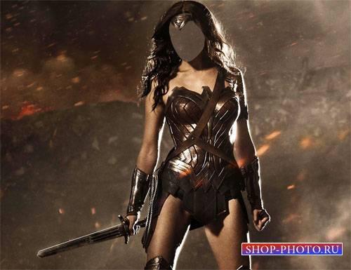 Шаблон psd - Воин девушка на поле битвы
