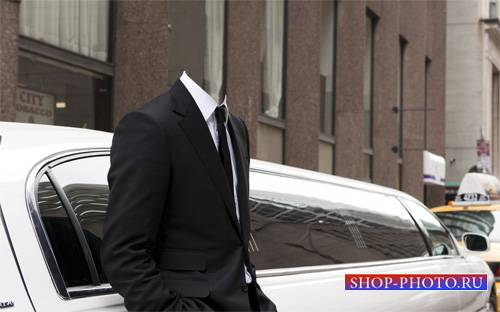Шаблон для фотошопа - Богач у лимузина в костюме