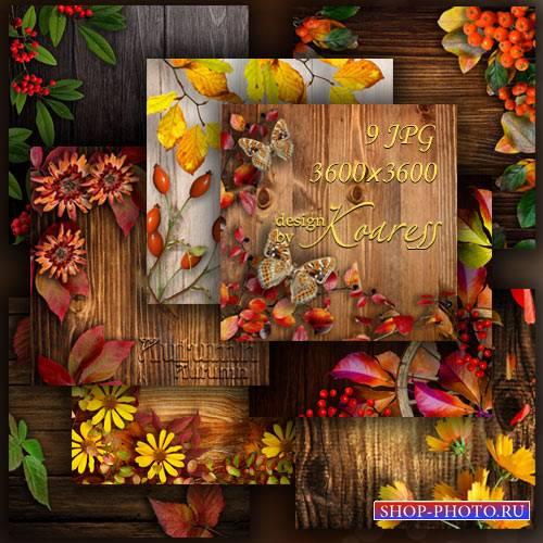 Осенние деревянные фоны для дизайна с цветами, ягодами, листьями на деревян ...
