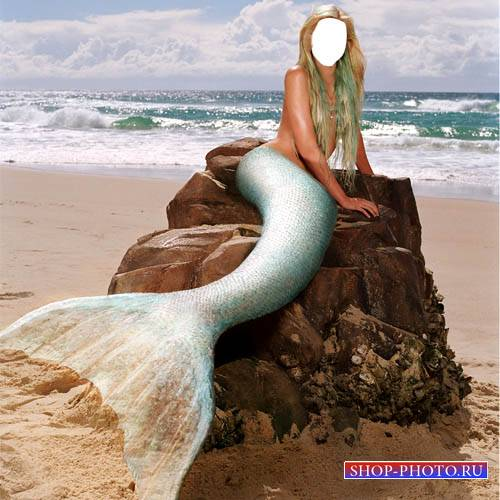 Шаблон для Photoshop - Русалка у моря на камне