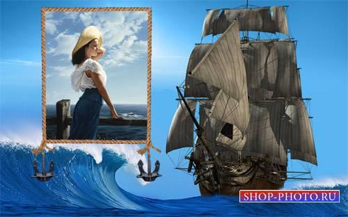 Рамка для фото - Кораблик на воде