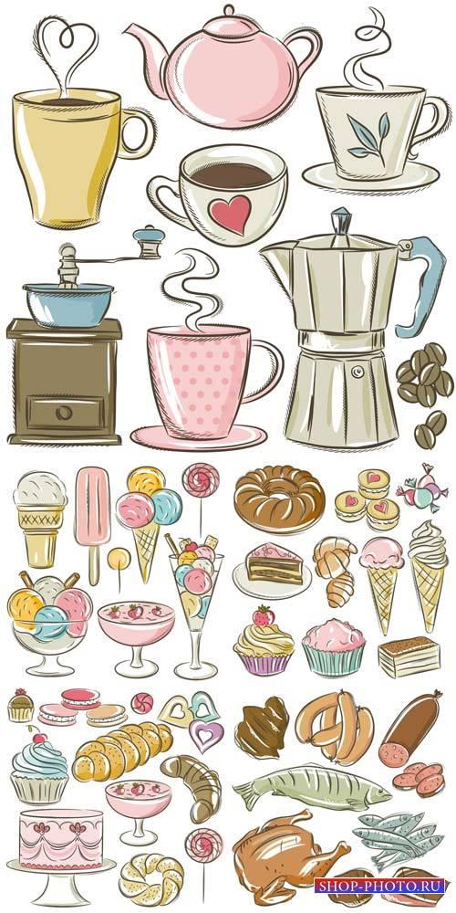 Различные продукты в векторе, еда / Various products in the vector food
