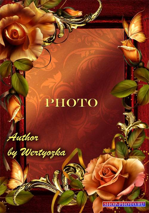 Рамка для фото - Чайные розы и золотые орнаменты
