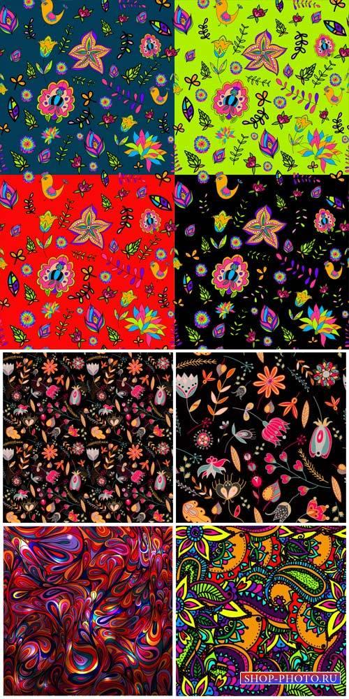 Векторные фоны с узорами и цветами / Vector backgrounds with patterns and c ...