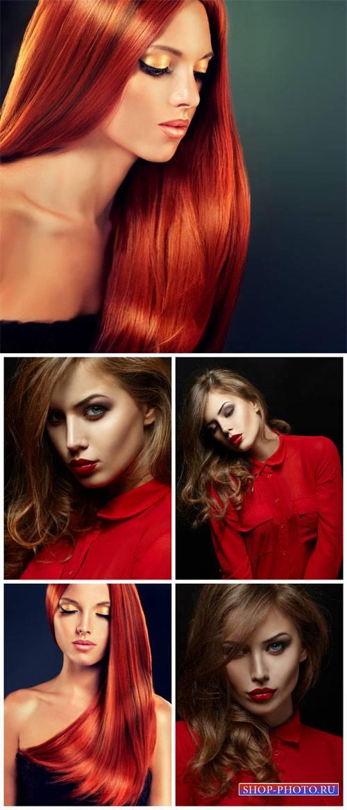 Модные девушки, женщина в красном / Fashionable girl, woman in red - Stock  ...