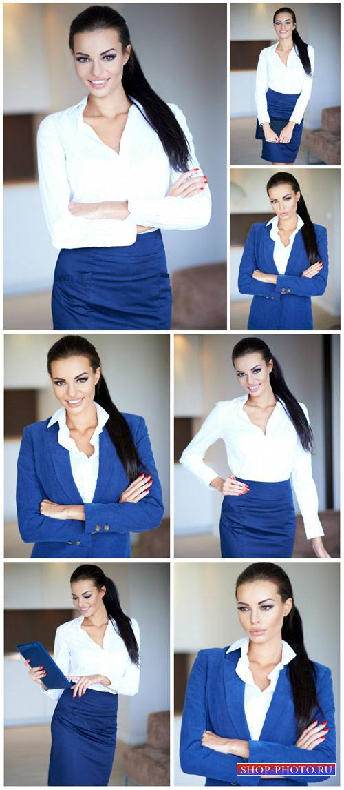 Бизнес девушка в синем костюме / Business woman in a dark blue suit - Stock Photo