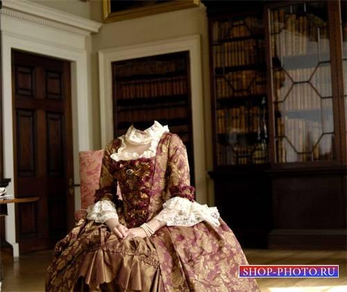 Женский шаблон - Герцогиня в комнате в платье