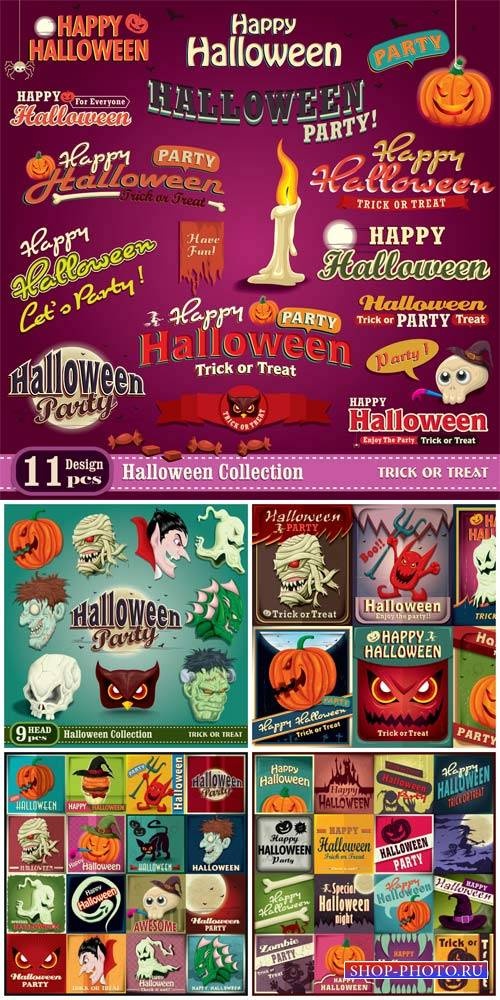 Хэллоуин, этикетки и надписи в векторе / Halloween, labels, captions and ba ...