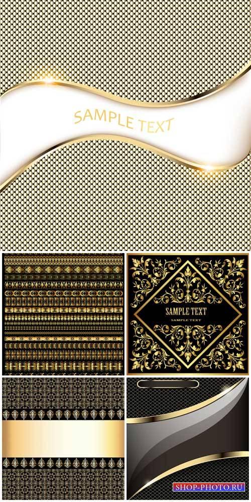 Векторные фоны с золотым декором, узоры / Vector background with gold decor ...