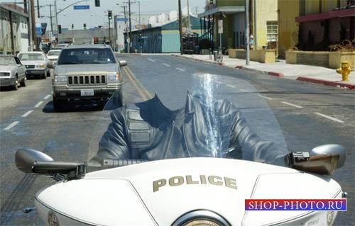 Шаблон для Photoshop - На мотоцикле полиции