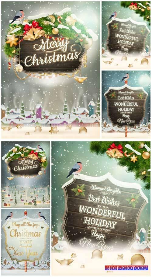 Рождественский вектор, зимние фоны с елкой и табличками / Christmas vector