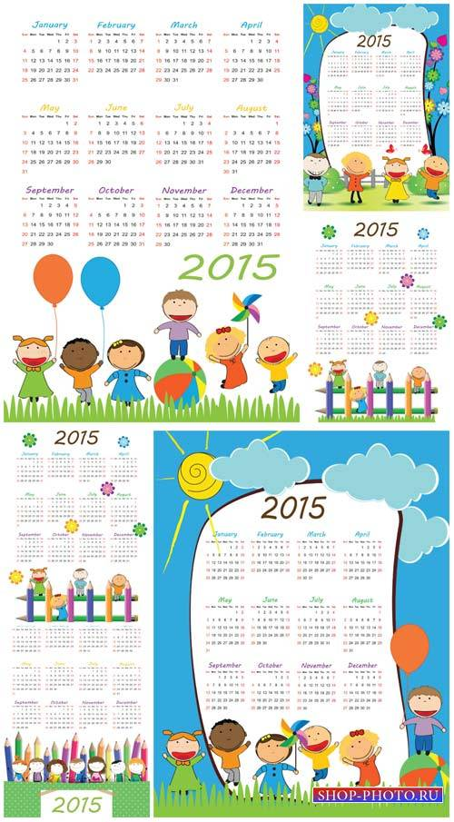 Календари на 2015 год с детьми, вектор / Calendar for 2015 with children, vector