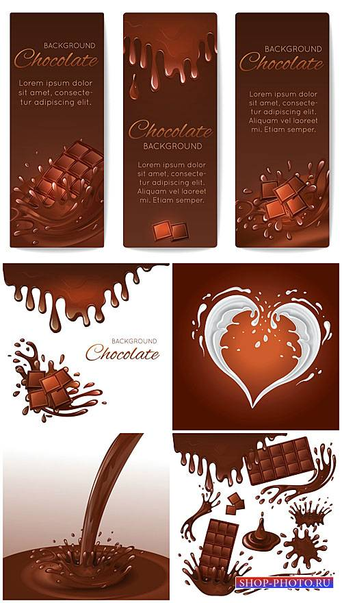 Шоколад, векторные фоны / Chocolate, vector backgrounds #1