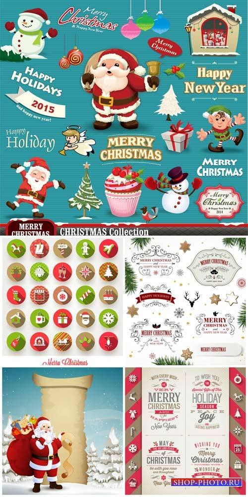 Рождественский вектор, зимние элементы / Christmas vector winter elements