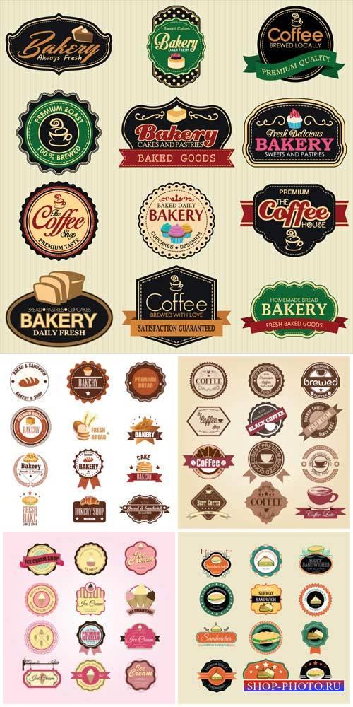 Продуктовые этикетки в векторе, хлеб, кофе / Food labels vector, bread, cof ...