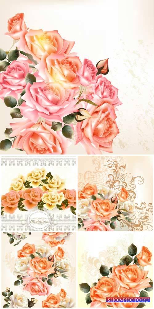 Розы, красивые фоны с цветами в векторе / Roses, beautiful background with  ...
