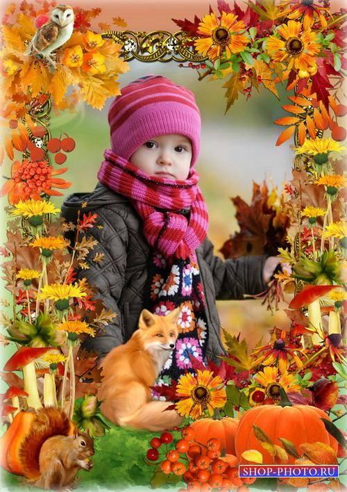 Рамка для оформления фото - Сказочный лес осенью