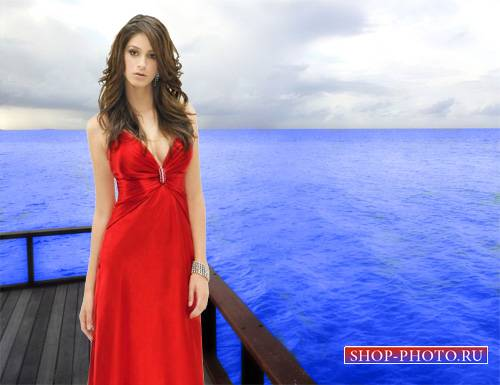 Шаблон для фотошопа - В красивом красном платье