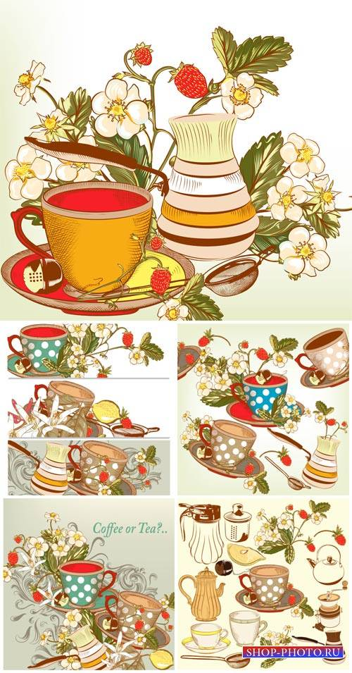 Чай, чашки и чайники в векторе / Tea, cups and teapots in vector